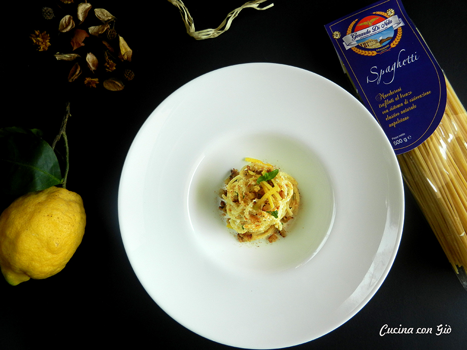 Spaghetti bottarga ricotta limone