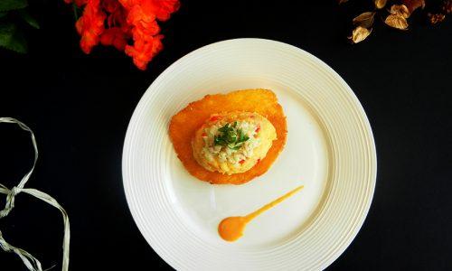 Polenta con merluzzo mantecato e peperoni