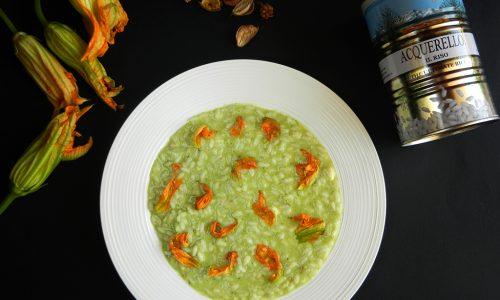 Risotto gorgonzola, crema di zucchine e i loro fiori