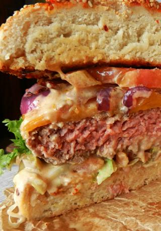 Panino americano con hamburger di black angus