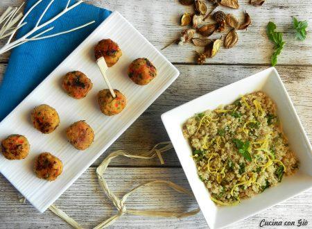 Polpette di merluzzo e peperoni con insalata di quinoa