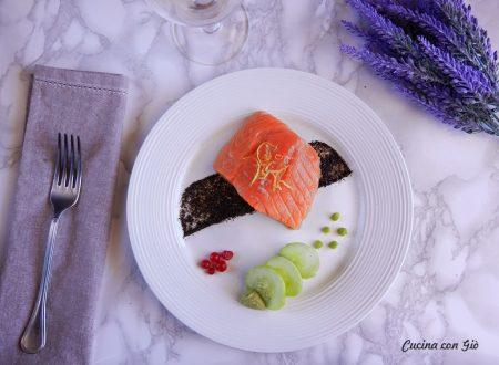 Non-sushi alla Giò – Salmone in olio cottura con mousse di avocado al wasabi