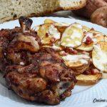 Ali di pollo alla soia e miele con chips di patate